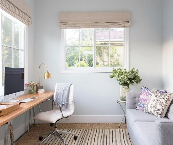 a guest room that doubles as a home office.