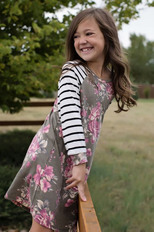 a3e3806e4 Girls Stripes on My Sleeves and Floral Dress Olive
