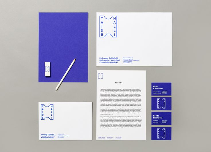 Stationery design by Tsto for Finnish contemporary art gallery Taidehalli
