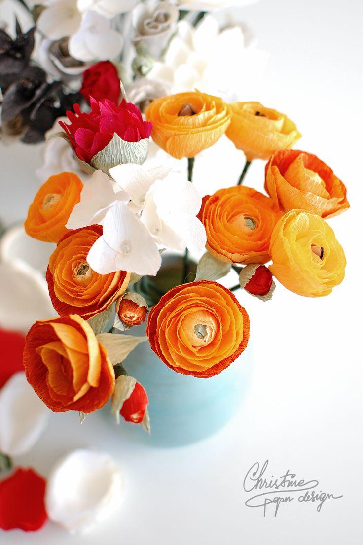 24 best paper flowers ranunculus images on pinterest flower paper flowers diy paper ranunculus mightylinksfo