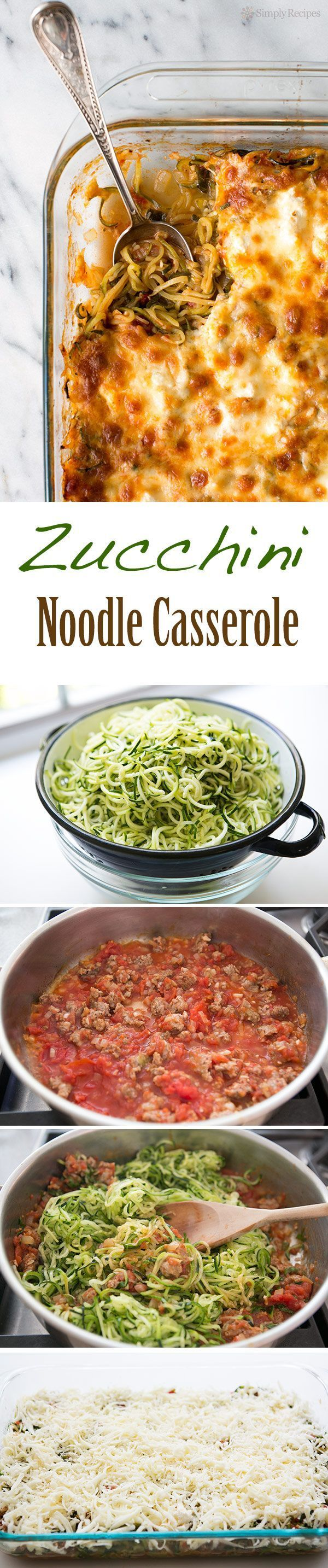 Cheesy Baked Zucchini Noodle Casserole ~ Spiralized zucchini noodles, baked in casserole with sausage tomato sauce, topped with ricotta, mozzarella, parmesan cheeses. Great recipe for a summer holiday potluck! Low carb and gluten-free! ~ SimplyRecipes.com