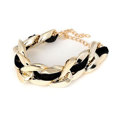 Gold chunky bracelet with black material  Code: 08877  Price: R30.00