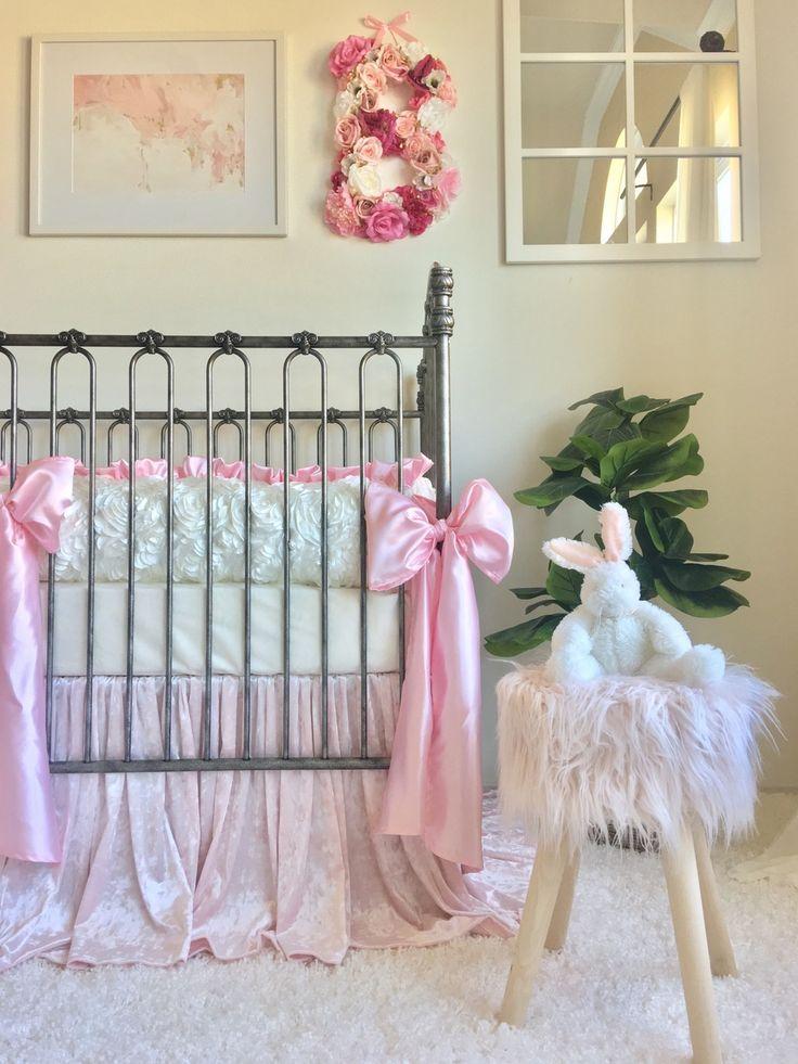Crib Bumper - Ivory Petals, Paisley, and Baby Pink