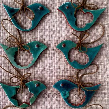 turkusowe ceramiczne zawieszki ptaszki