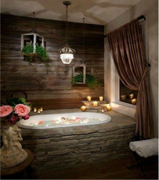 Rustic Bathroom Designs, Stone Bathtub E Rustic