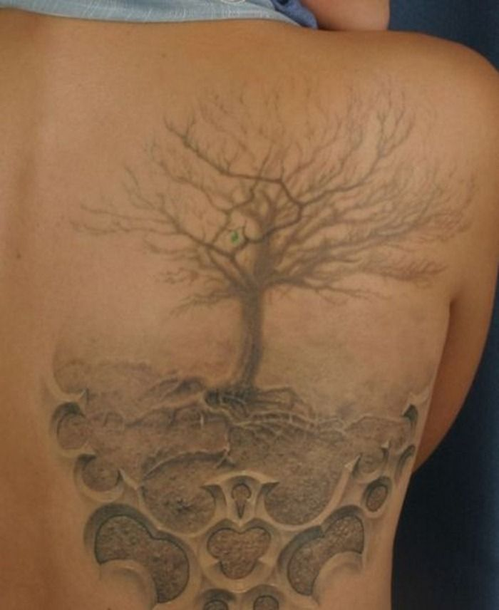 Another 3d realistic dead tree with roots soft hazy grey for Realistic tree tattoos