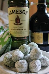 Leprechaun Balls made with green shortbread, whiskey, and Irish Cream