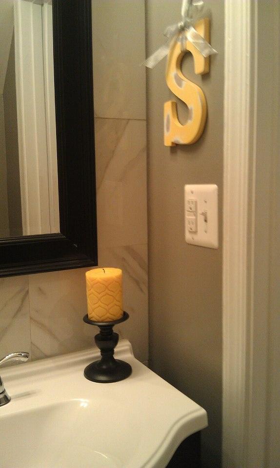 Yellow, Gray and black bathroom
