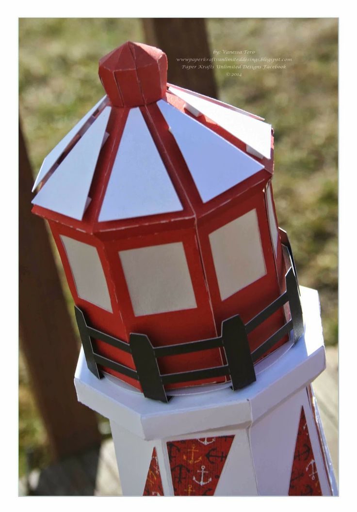 3d lighthouse gift box from svg cuts seaside newest kit for 3d paper lighthouse template