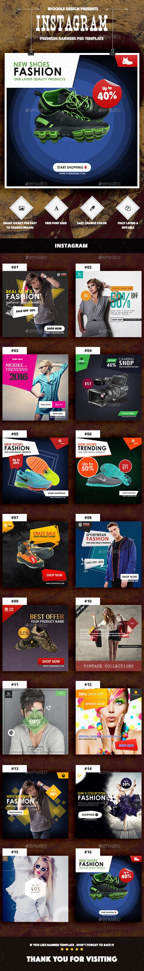 Instagram Product Banners Ads  16 PSD — Photoshop PSD #studio #facebook ads • Available here → https://graphicriver.net/item/instagram-product-banners-ads-16-psd/14526801?ref=pxcr
