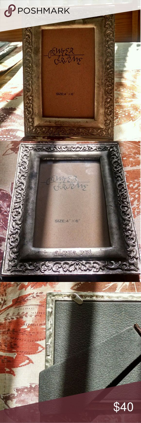 "📷 Alpha Phi Pewter Picture Frame Alpha Phi Pewter Picture Frame. Fits 4""x6"" photos. Good sturdy weight with an antiqued brushed silver look and scroll border design. No flaws.   Reasonable offers considered. Add to a bundle for discounted shipping. Thanks for shopping my closet! Barron Other"