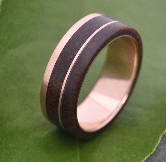 Rose Gold Un Lado Asi Wood Ring   ecofriendly 14k recycled