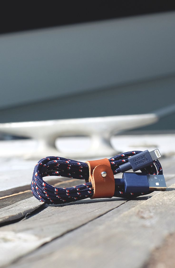 BELT Cable goes Nautical. The braided cable with genuine leather strap. Just wrap it up and go.