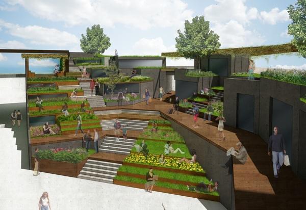 Terraced plaza by henry wu via behance arch 402 crops for Landscape design leeds