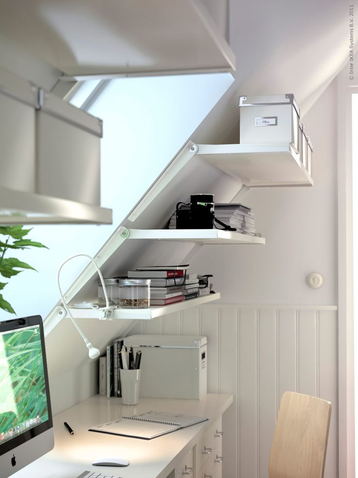 EKBY RISET shelf brackets allow you to take advantage of the space on sloped walls.