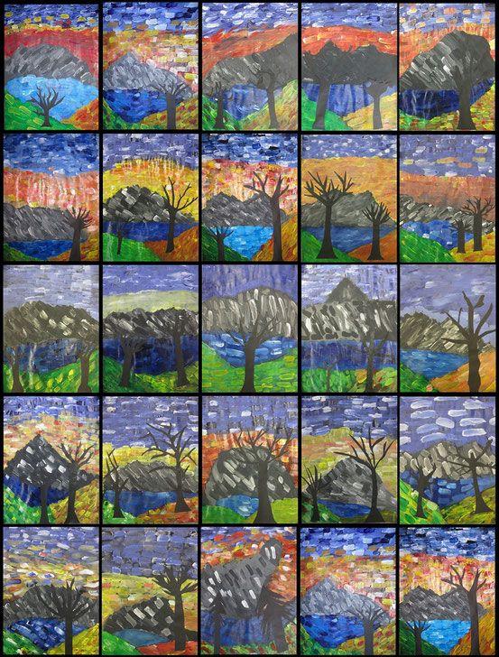 https://www.schule-am-lindenberg.de/arbeitsergebnisse/kunstunterricht-2016-2017/Herbstbäume Zunächst haben wir den Hintergrund für unsere windige Herbstlandschaft gemalt. Wir haben Acrylfarbe verwendet. Die Pinselstriche sollten bei dieser Arbeit zu erkennen sein.  Am Ende wurden noch Bäume auf schwarzen Tonpapier gezeichnet, ausgeschnitten und aufgeklebt.  Tolle Bilder sind dabei entstanden!