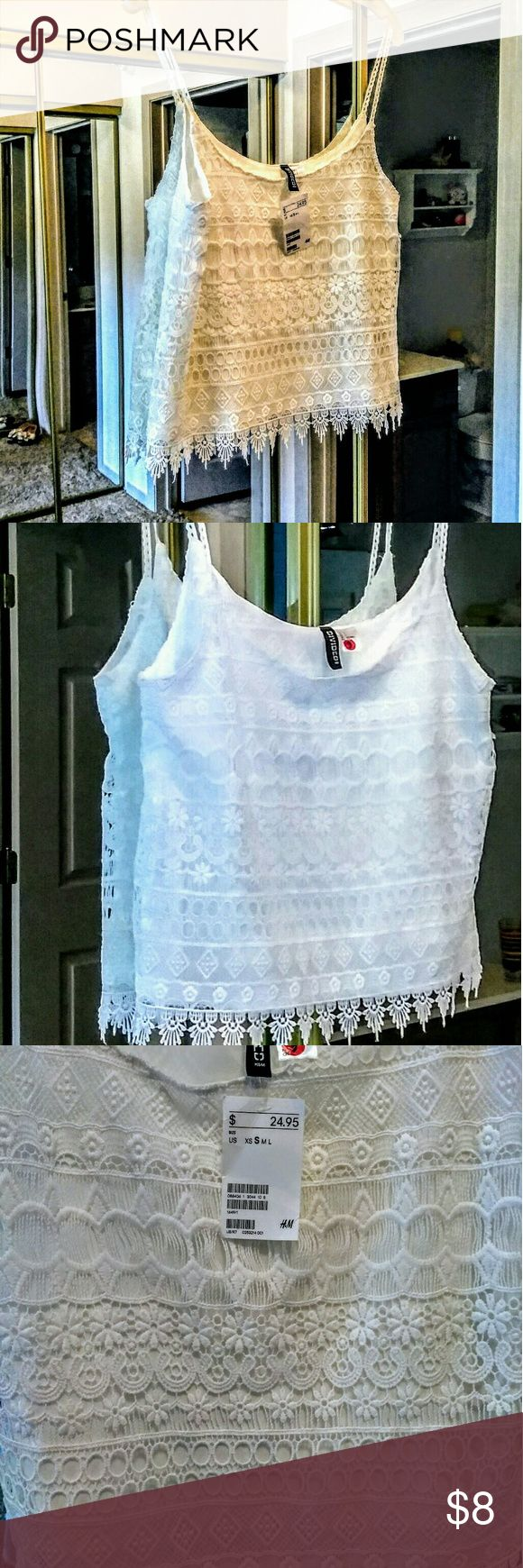 Beautiful White Lace Tank Top w/ fringe at bottom Pretty Lace Underlined Tank Top with thin straps and lace fringe at bottom Divided Tops Tank Tops