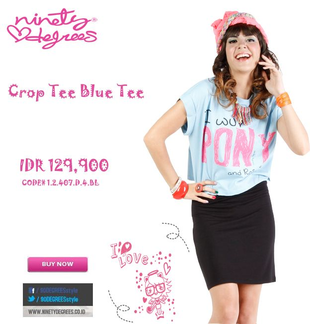 This Crop Tee Blue Tee for your active Girls is a must have IDR 129,900 >> http://ow.ly/vxEWm