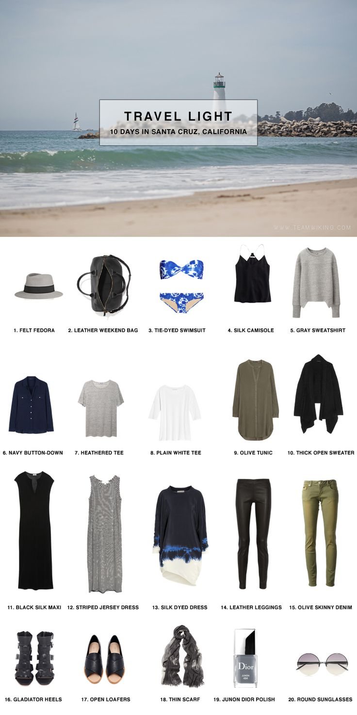 Travel Light: Pack a carry-on for 10 Days in Santa Cruz, California Link with outfits!!