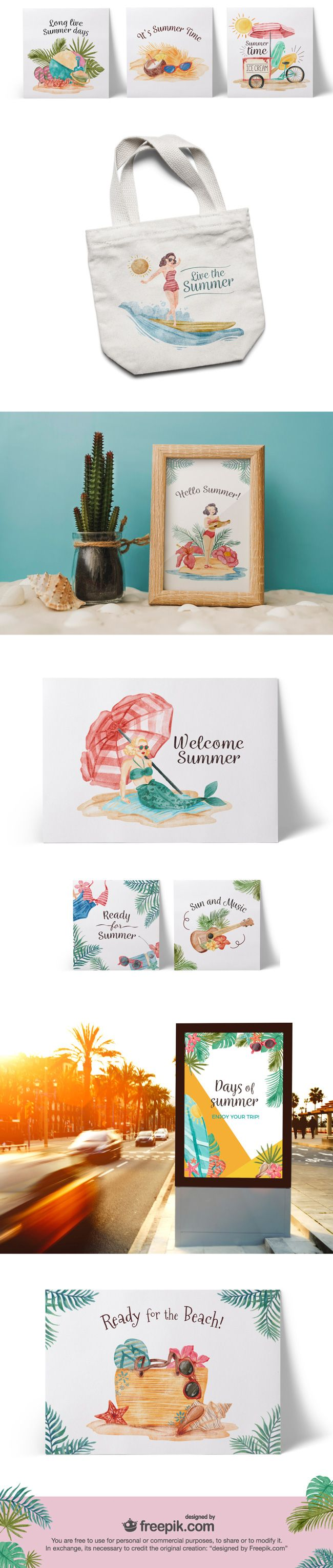 Free Download – Vintage Summer Vector Graphics (Watercolor style)