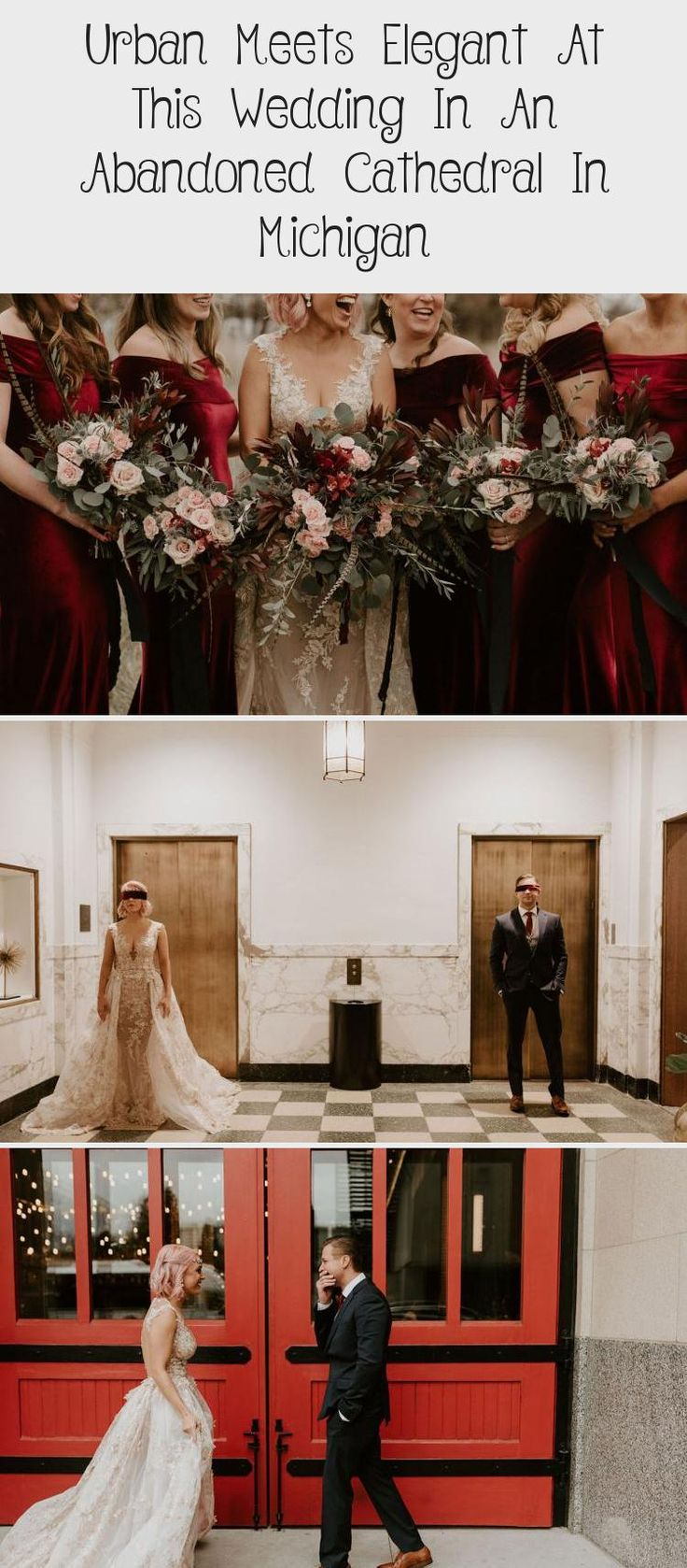 Urban Meets Elegant at this Wedding in an Abandoned Cathedral in Michigan - Green Wedding Shoes #PeachBridesmaidDresses #LilacBridesmaidDresses #BridesmaidDressesMint #BridesmaidDressesPlusSize #VelvetBridesmaidDresses