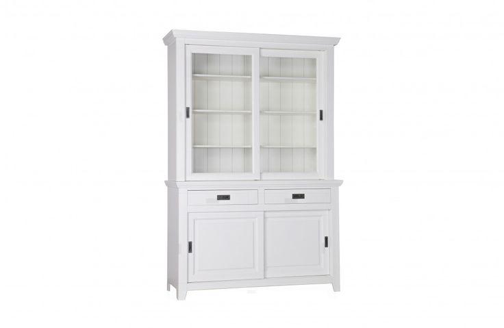 Vitrinenschrank weiß, Geschirrschrank weiß Landhaus, Vitrine weiß im Landhausstil, Buffet-Schrank weiß, Breite 142 cm