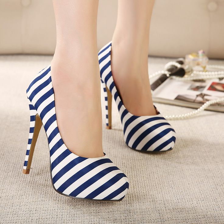 Sexy high-heeled shoes with navy stripes ultra- thin
