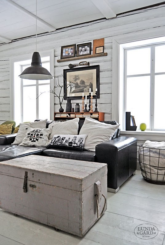 Cool black and white living room