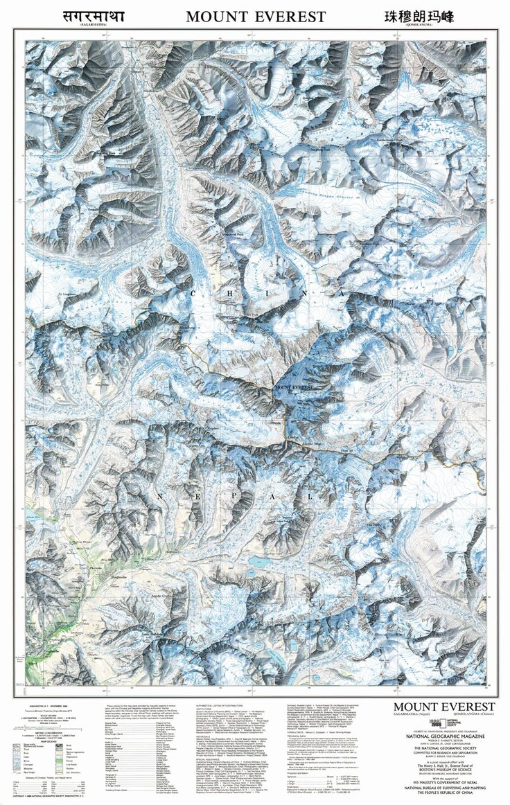 The November 1988 map of Mount Everest, which took four years to produce, relied on a high-resolution camera carried on the Columbia space shuttle and 160 overlapping aerial images taken from a Learjet flying at 40,000 feet to map 380 square miles of the region.