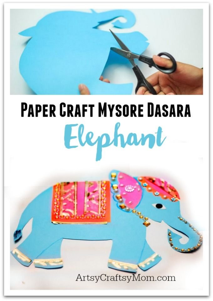 Cute Indian Elephant Paper craft for kids to make. Perfect for Dussehra where a procession of decorated elephants walk through the streets of Mysore, India.  via @artsycraftsymom