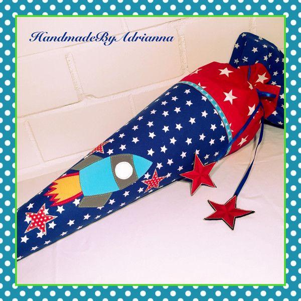 """Schultüte """"Rakete"""" mit Name und Datum möglich  von HandmadeByAdrianna auf DaWanda.com"""