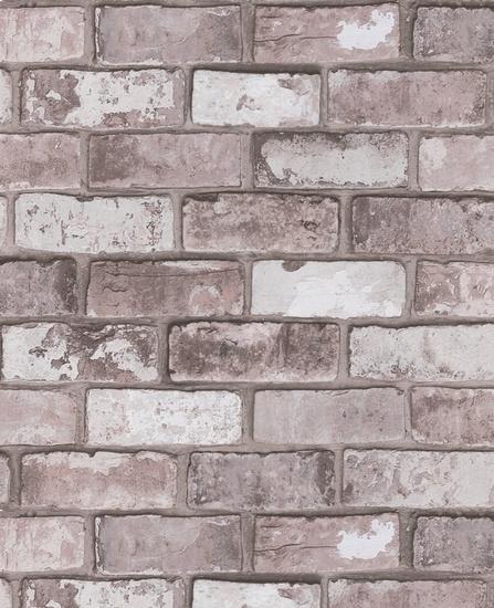 #Behang in licht grijsroze #baksteen dessin