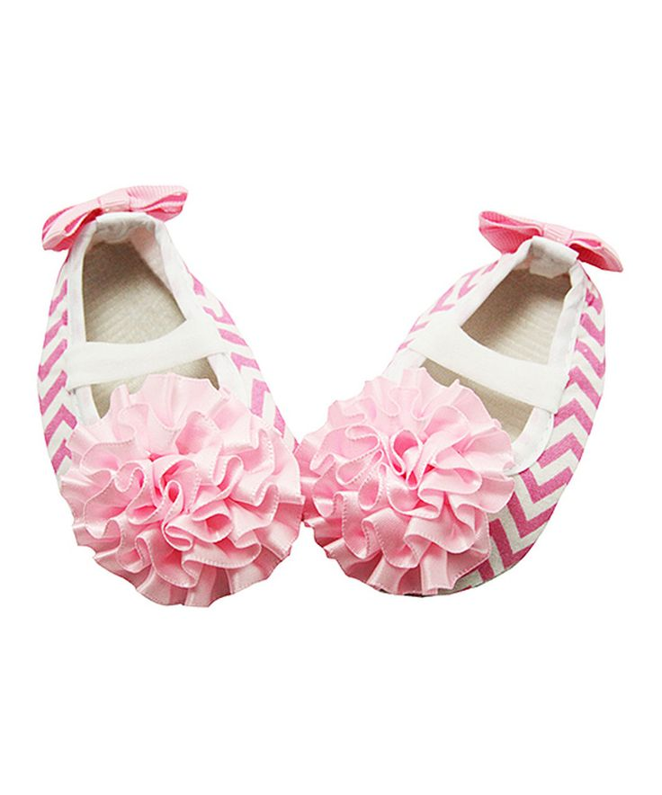 Another great find on #zulily! Dress Up Dreams Boutique Light Pink & White Chevron Ruffle Flower Bootie by Dress Up Dreams Boutique #zulilyfinds