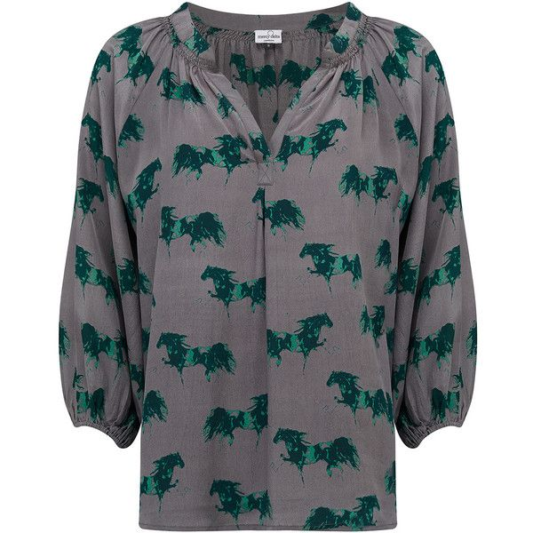 Mercy Delta Clevedon Spirit Blouse - Forest ($280) ❤ liked on Polyvore featuring tops, blouses, forest, green top, 3/4 sleeve silk blouse, 3/4 sleeve tops, silk top and green silk blouse