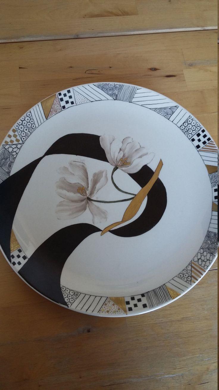 "Piatto dipinto a mano, made in Italy, in ceramica ""Ribbon"" di Scialaba su Etsy"