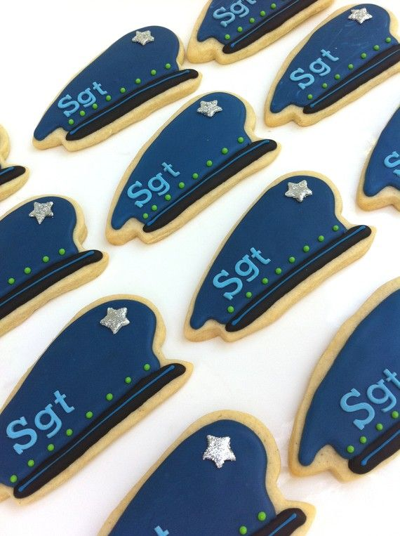 Police Hat Cookies 1 dozen by SunshineBakes on Etsy, $33.00