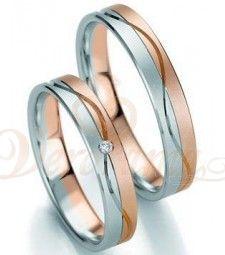 Βέρες γάμου δίχρωμες με διαμάντι Breuning 7135-7136