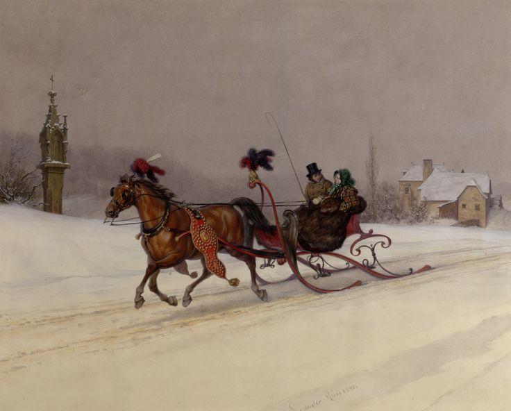 Leander Russ   Schlittenfahrt - sleigh ride   1847