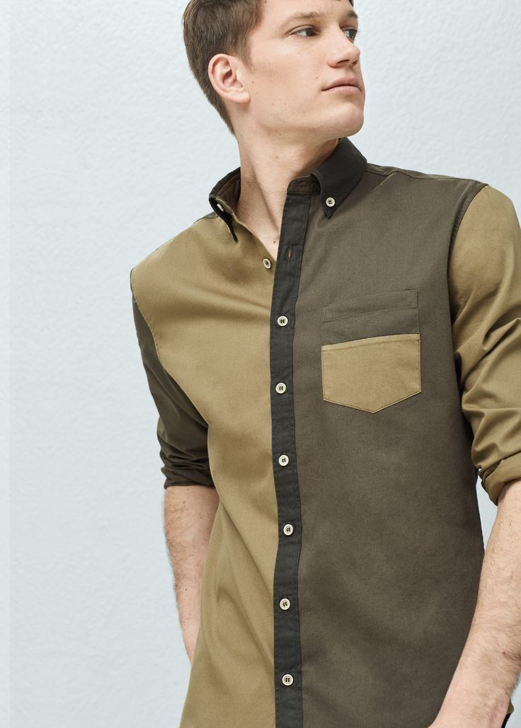 Camisa slim-fit color block | MANGO MAN