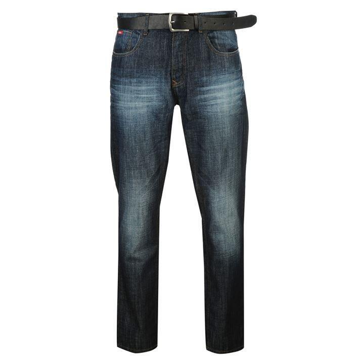 Lee Cooper | Lee Cooper PU Belted Jeans Mens | Mens Jeans