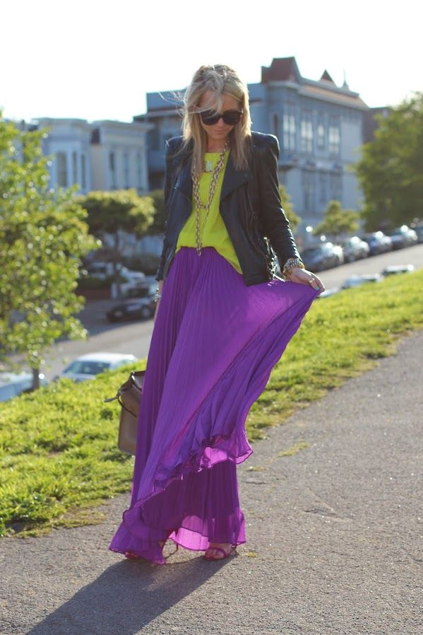 color clash: Colors Combos, Fashion, Style, Purple Maxi, Long Skirts, Leather Jackets, Purple Skirt, Bright Colors, Maxi Skirts