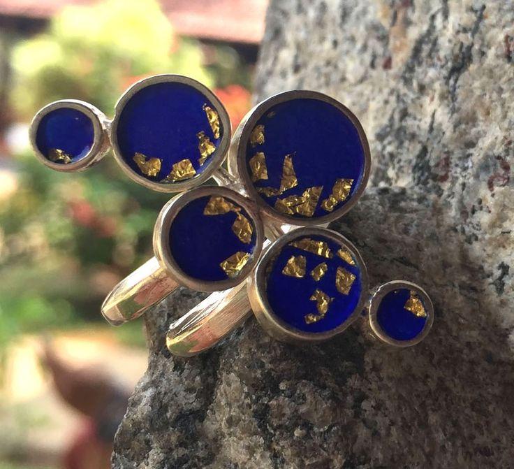 One of a kind enamel ring with transparent indigo enamel and golden leaves – Folt Bolt Shop