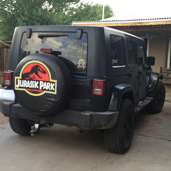 Jurassic Park Tire Cover by CustomTireCovers on Etsy