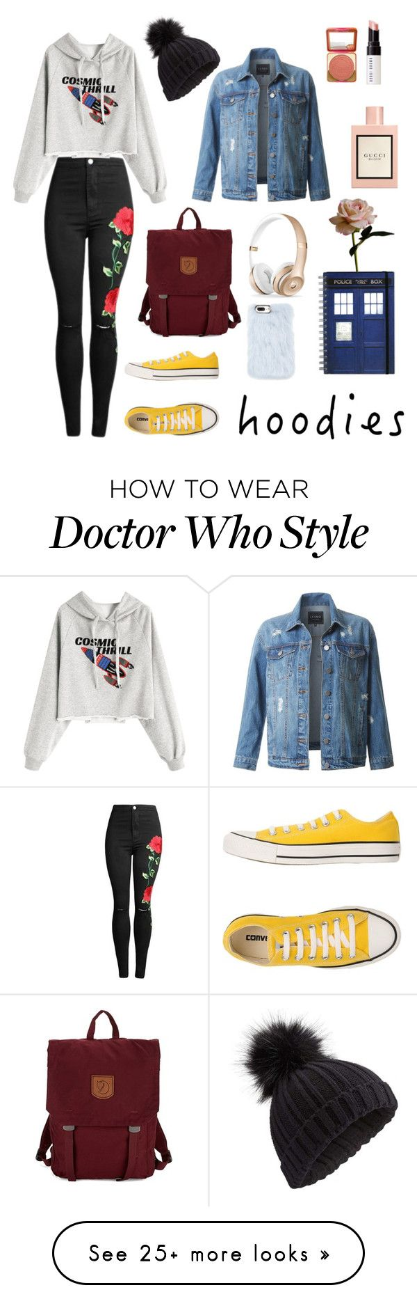"""A style for hoodie & science fiction lovers"" by luvioso on Polyvore featuring Converse, Fjällräven, Miss Selfridge, LE3NO, Skinnydip, Too Faced Cosmetics, Bobbi Brown Cosmetics, Gucci and Abigail Ahern"