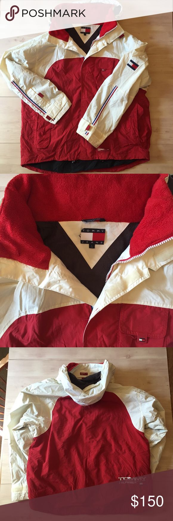 Tommy Hilfiger 90's logo jacket L 🇺🇸Rare Tommy Hilfiger logo vintage yacht sailing jacket red blue & off white EUC .lined and warm. Tommy Hilfiger Jackets & Coats