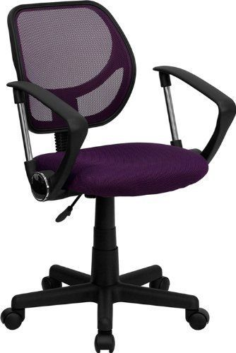 Purple Mesh Back Armrest Pad Mesh Seat Adjustable Height Office Computer Chair