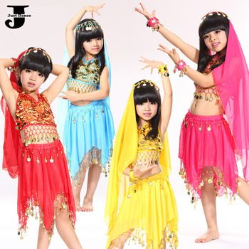US $18.80 / piece 2015 New Girls Belly Dance Costume Headwear&Top&Skirt&Armlets Indian Dance Costumes For Children Kids Dance Clothing