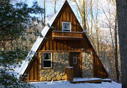 Tiny house A-frame  Wood & stone                                                                                                                                                                                 More
