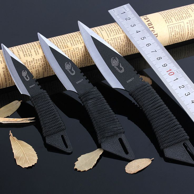 3 Unids tiro cuchillo Táctico Hoja Fija Cuchillo de Caza Que Acampa Cuchillos de Bolsillo Cuchillo de la Supervivencia Al Aire Libre herramientas + Envoltura S002