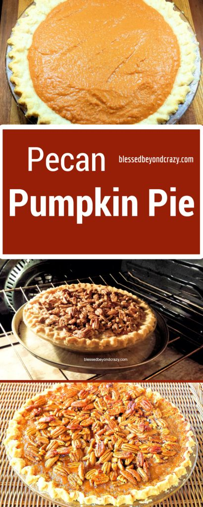 Pecan Pumpkin Pie - this pie is delicious and a great combination.